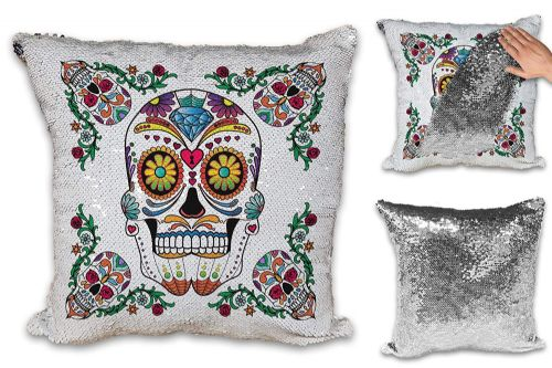 Sugar Skull - Day of The Dead Sequin Reveal Magic Cushion Cover